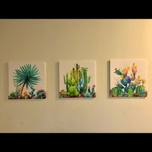 3 Piece 16x16in Cactus Wall Art